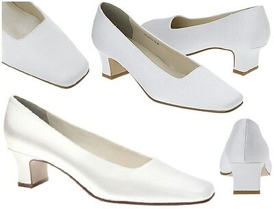 NEW Betty Low Heel Mary Jane Pump Dyeable White Satin Medium Wide 4-13
