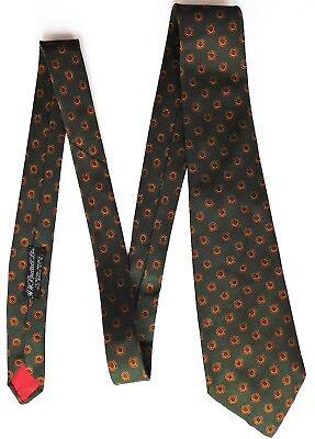Brettell all silk tie Green and orange formal flower pattern Vintage 1950s 1960s