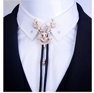 Stag Bolo Tie Deer Bola Necktie Braided Leather Shoestring Necklace Western Gold
