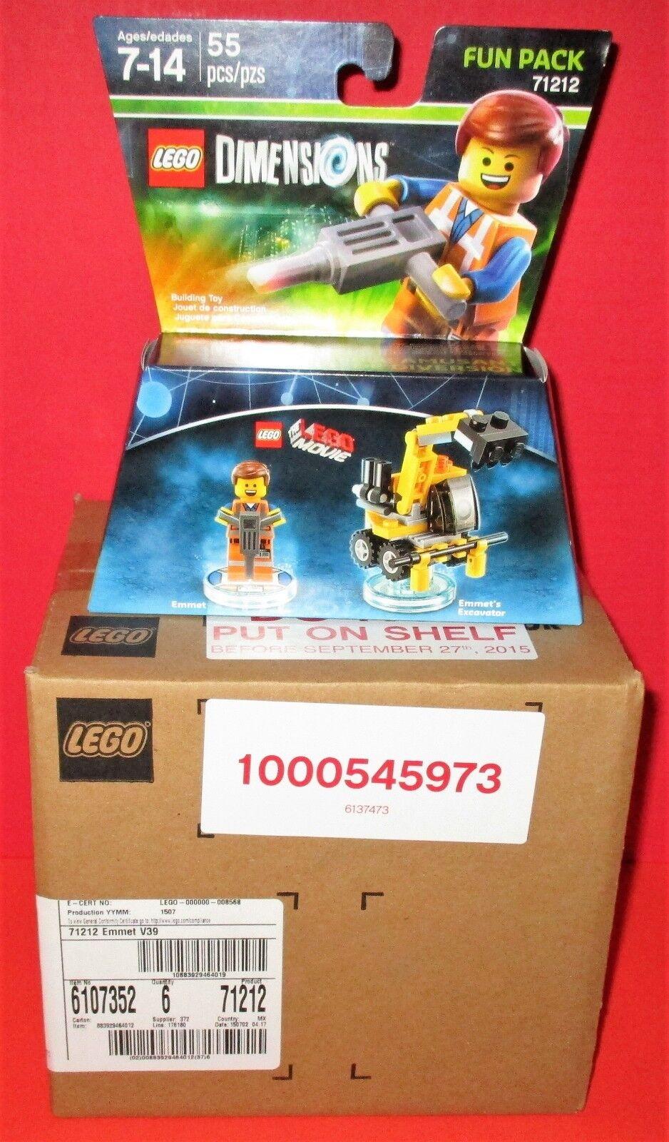 Lot of 6  Sealed Case  Lego Dimensions -Lego Movie- Emmet + Excavator FP  71212
