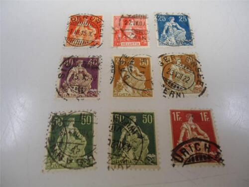 Antique Official Switzerland 19071908 Stamps Collection Lot of 9