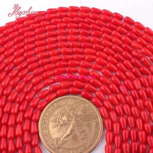 "3x5mm Drop Drip Red Coral Beads For Jewelry Making Gemstone 15/""DIY Prettygem"