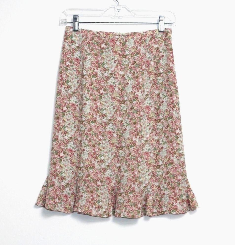Talbots - 2P (PXS) - Multi-color Floral Print 100% Silk Tulip Skirt