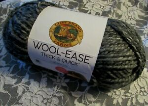 NEW-LION-BRAND-WOOL-EASE-Licorice-Black-Gray-Yarn-Acrylic-Wool-283-g-Turkey