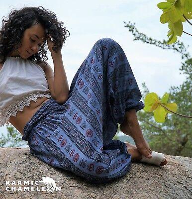 Harem Hippie Pants Blue Yoga Festival Om Ohm Loose Boho Festival Gypsy Comfy