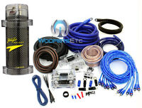 Pkg 8500w 0 & 4 Gauge Pro Dual 2-way Amp 3 Rca Wire Kit & 5 Farad Amplifier Cap on sale