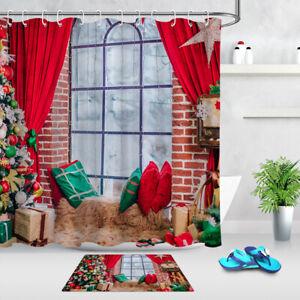 Details About Rustic Brick Wall Window Christmas Tree Fabric Shower Curtain Set Bathroom Decor