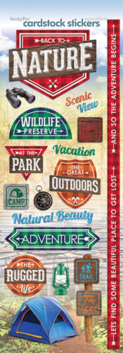 Paper House BACK TO NATURE Cardstock Stickers scrapbooking CAMP HIKE PARK PICNIC