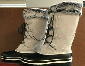 Khombu-Women-039-s-Emily-Grey-Leather-Upper-Cushioned-Insole-Winter-Snow-Boots