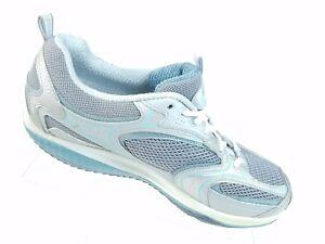SKECHERS Womens Shape Ups Silver White Blue Walking Gym Shoe 12320 Size 9.5 #A94