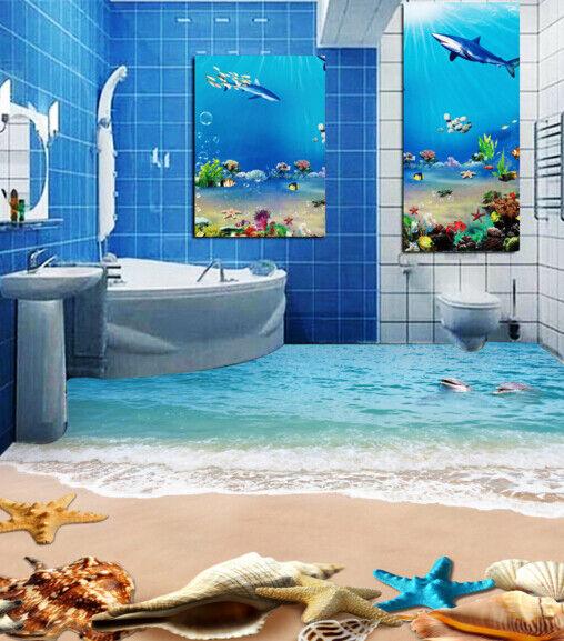 3D Dolphins Beach 53 Floor WallPaper Murals Wall Print 5D AJ WALLPAPER UK Lemon