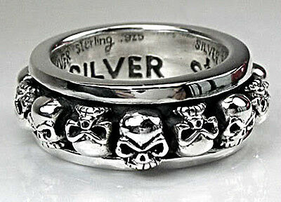 GOTHIC STACK SKULL STERLING SILVER BAND SPINNER RING Sz 13.5 SPINNING SPIN BIKER