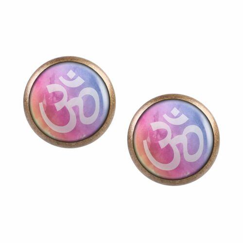 Mylery Ohrstecker Paar mit Motiv Om-Zeichen Buddha Hindu Bunt Farben bronze vers