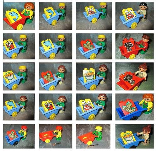 Lego Duplo Tier Pfleger Figur Zoo Wärterin Tierpark Schubkarre /& Fisch Mais