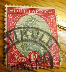 South-Africa-1934-1d-Grey-amp-Carmine-Cancelled-Used-Postage-Stamp