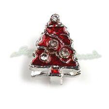 50pcs Red Enamel Christmas Tree European Beads Fit Snake Chain Bracelets DIY L