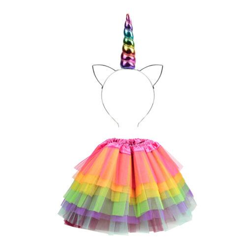 Rainbow Unicorn Tutu Costume Kids Adults Party Pony Dash Fancy Dress UK
