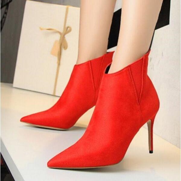 Stiefel Damenschuhe niedrig Stilettos 9 cm rot simil Leder CW726
