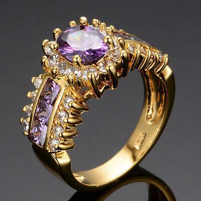 Sz 5-12 Engagement Rings Women's Jewellry Purple Lab Amethyst Yellow Gold Filled