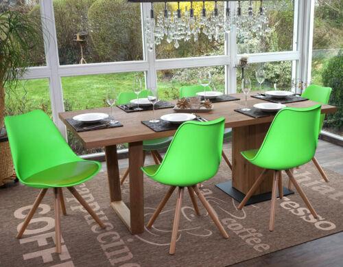 Sitzfläche Kunstleder grün 6x Esszimmerstuhl Vaasa T501 helle Beine grün