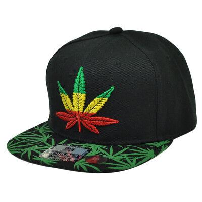 Fanartikel ZuverläSsig Marihuana Rastafari Ganja Mütze Snapback Flat Bill Blatt Schwarz High Smoke Heller Glanz