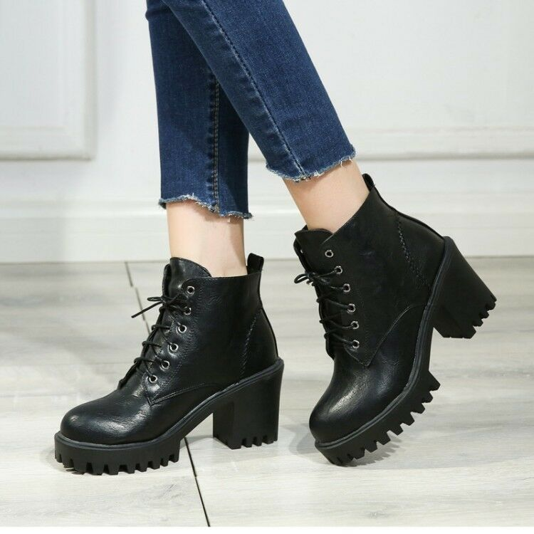 Vintage Women's Lace Up Ankle Boots High Heels Casual Platform Round Toe shoes