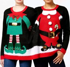 8d5eaad3e4a7 Holiday Time Double Sweater S/M Christmas Ugly Two Person Santa Elf Bells