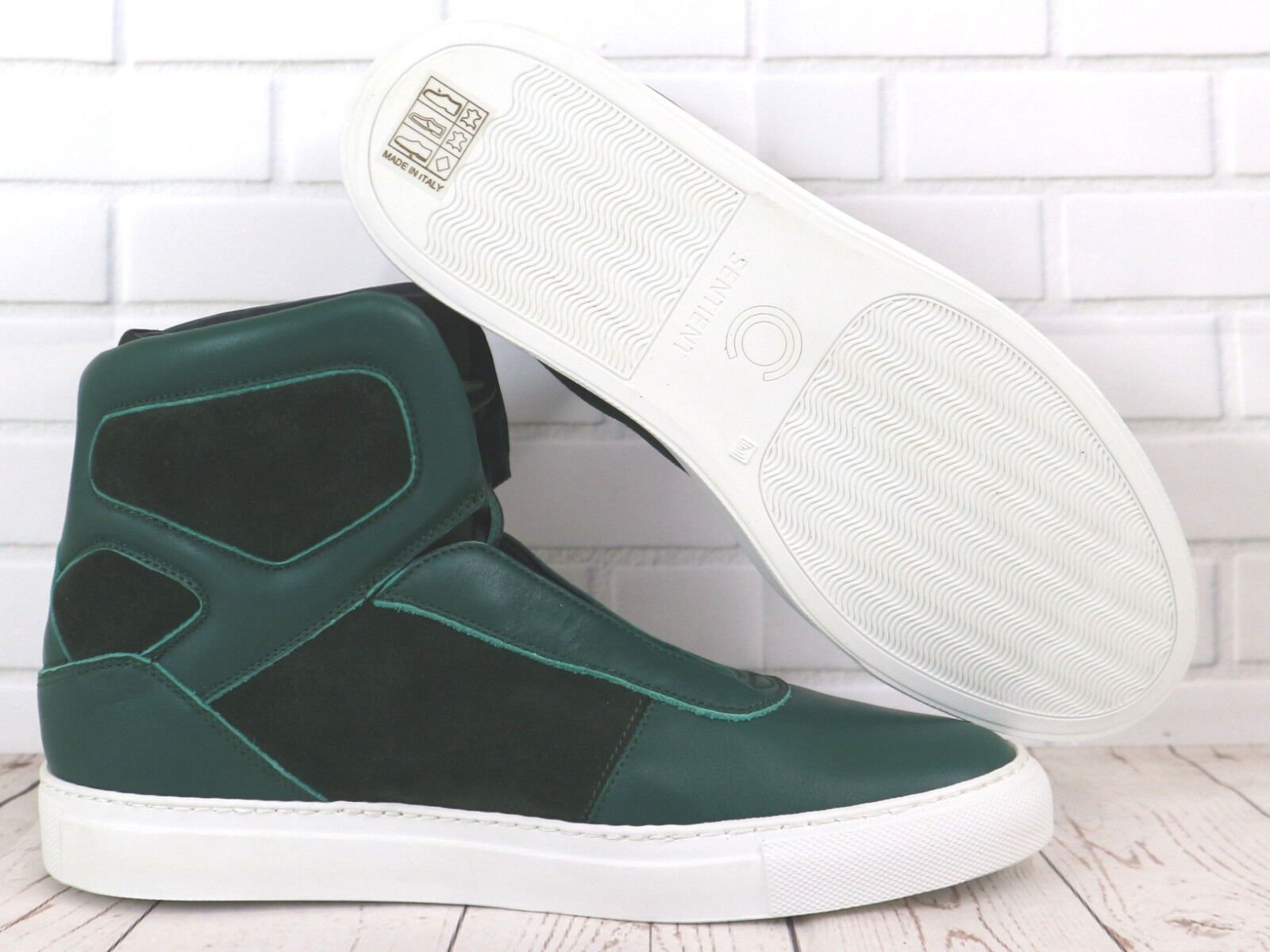 hot sale online 0f2b4 98166 Cipher Sentient Deep Green Leather Suede Men s High Top Trainers Sneakers