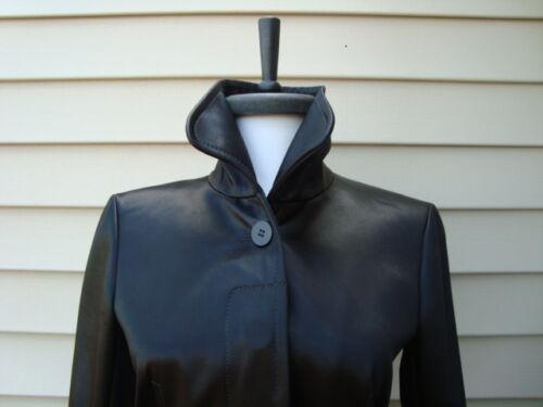 lungo Jacket Nwt panyia 635 Capispalla cappotto Trench Shiny Black Theory Slick Sz P 8qAZg4