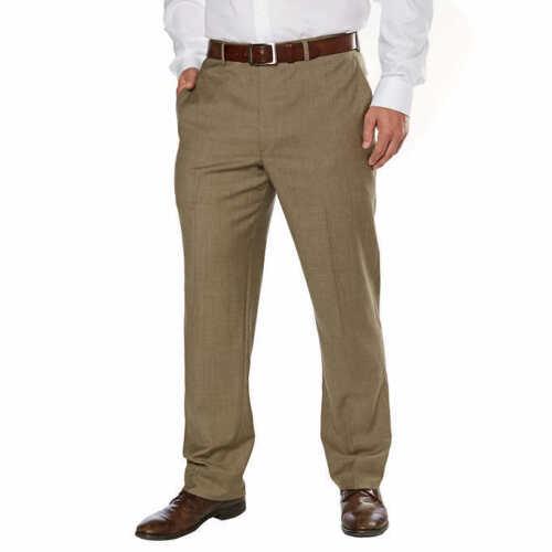 NWT Kirkland Signature Men's Wool Flat Front Dress Pant Brown Tan SELECT SIZE