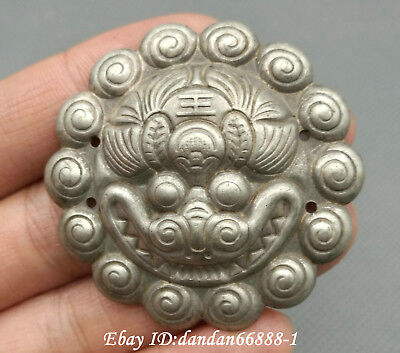 45MM Collect China Miao Silver Fengshui Zodiac Year Tiger Head Amulet Pendant