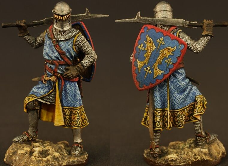 Tin toy soldiers ELITE painted 54 mm  Medieval knight, the first half of the XIV
