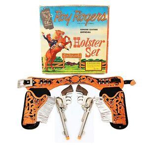 RARE Vintage Roy Rogers Genuine Leather Holster Set w/ Original Box