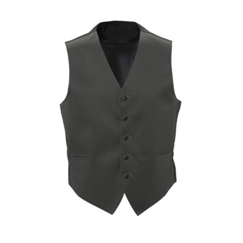 New Mens Charcoal Satin Tuxedo Vest Bow Tie Real Pockets USA MADE Best Quality