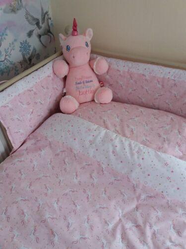 Beautiful bespoke Unicorn pink//white crib cot cot bed bumper quilt set bedding