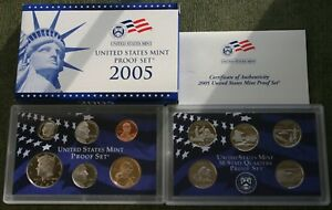 2005-United-States-Mint-11-Coin-Proof-Set-Coins-Box-COA-Westward-Journey-Nickels