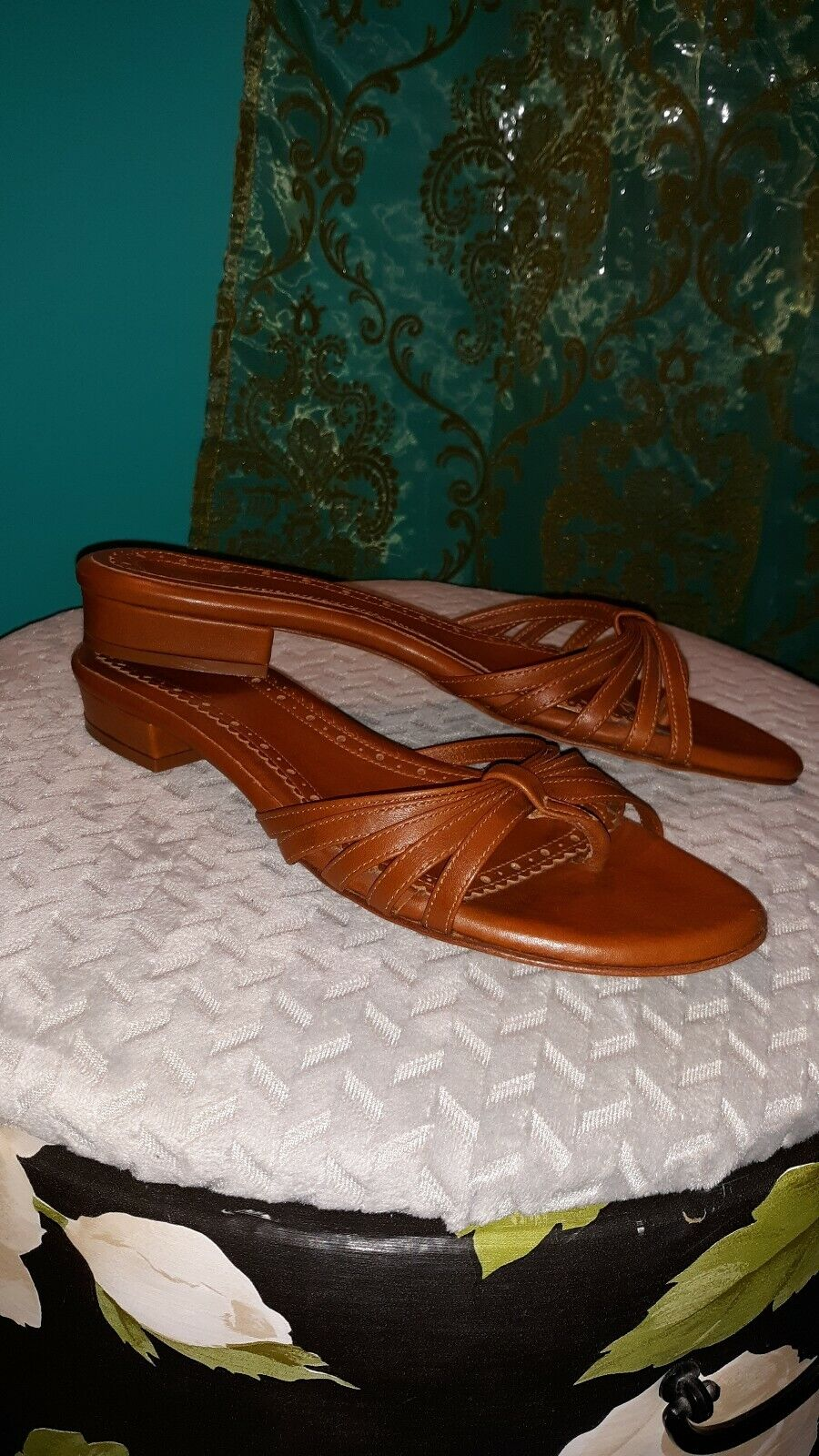 Brooks Bredhers Brown Carmel Leather Slide strapie tongue Sandals Womens sz7-7.5