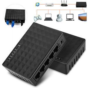 RJ45-LAN-Hub-Commutateur-Reseau-Informatique-Internet-Ethernet-5-ports-10-100-Mbit-s-US-Plug