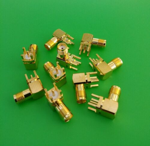 USA Seller 2 PCS SMA Male Right Angle Solder PCB Mount Connector