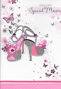 Argent Talon Haut Chaussures 3D fait main qualité B4 MUM CARTE D/'ANNIVERSAIRE Isabels Jardin