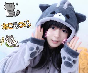 Neko-Atsume-Cat-Backyard-Hoodie-Women-Sweatershirt-With-Ears-Cosplay-Costume-New