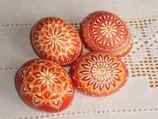 "Czech traditional Easter Egg ""Kraslice"" (Moravia, Europe)-red/orange/white"