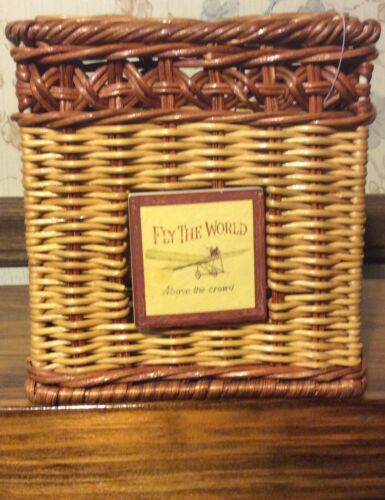 """Vintage Plane Tissue Box Cover Square Bathroom /""""Fly The World Above The Crowd/"""""""