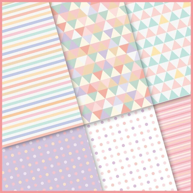exclusive 48/24pc pastel color triangle strip polka dot scrapbook paper 6 design