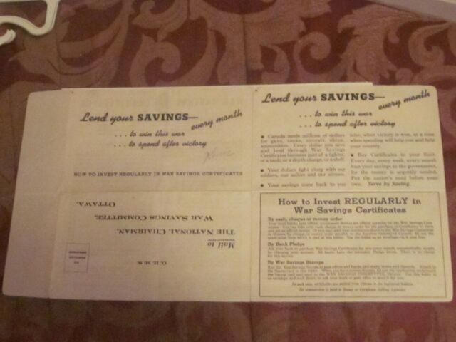 WW 2 Canada War savings stamps booklet   B1502 War Savings certificate Booklet