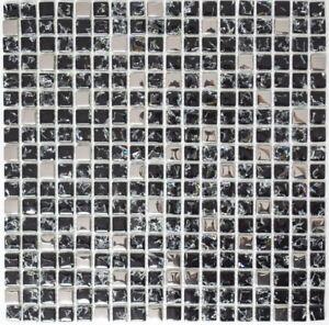 Mosaïque translucide crystal verre EP noir argent cuisine 92-1099_f ...