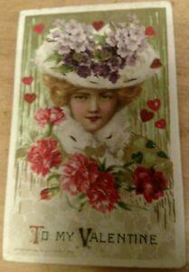 1913-WINSCH-SCHMUCKER-VALENTINE-POSTCARD-BEAUTIFUL-LADY-HEART-COAT-HAT-FLOWERS