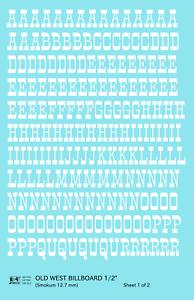 K4 G Decals White 1/2 Inch Old West Billboard Letter Number Alphabet Set