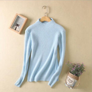 New Ladies Half Turtleneck Cashmere Sweater Women/'s Knitted Woolen Sweater Tops