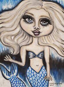 ICE MERMAID ART PRINT 11 x 14 Signed by Artist KSams Gothic Big Eyes Blue Ocean